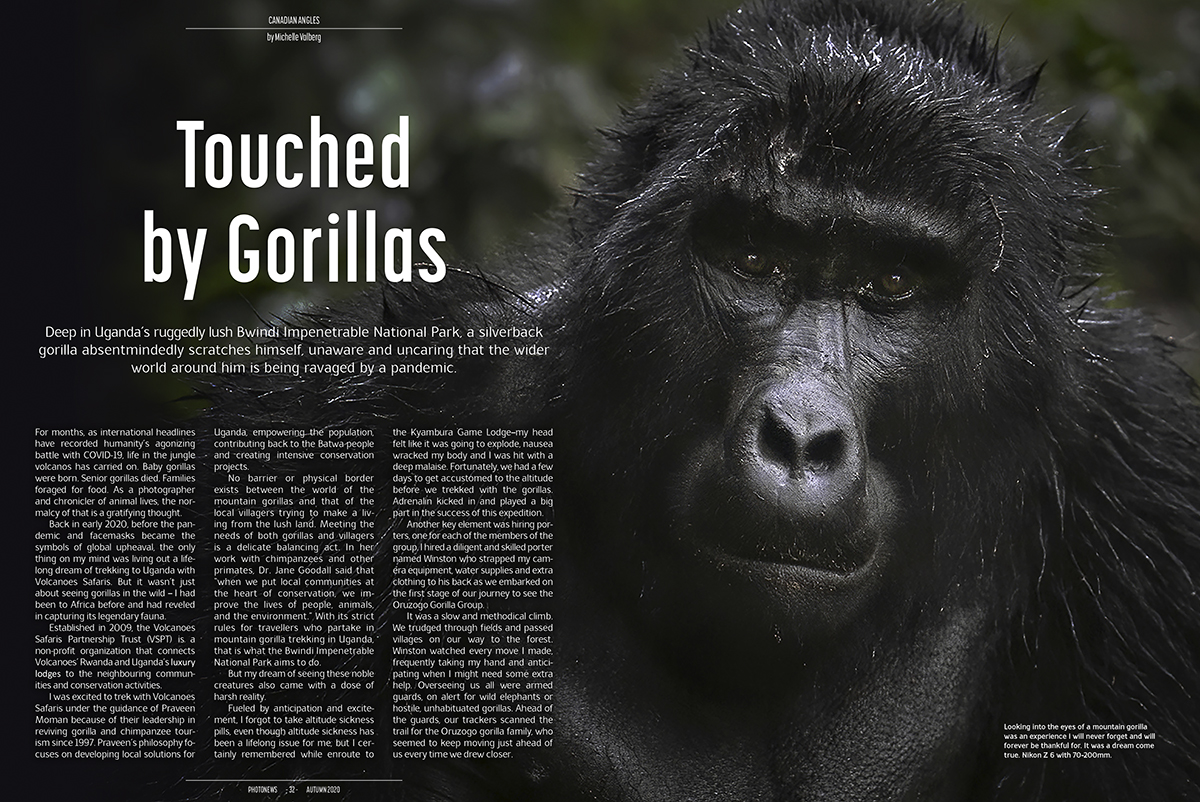 Photo News Magazine featuring Touched by Gorilla Story Uganda by Michelle Valberg